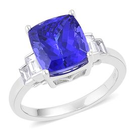 RHAPSODY 950 Platinum 6 Ct. AAAA Tanzanite Ring with Diamond