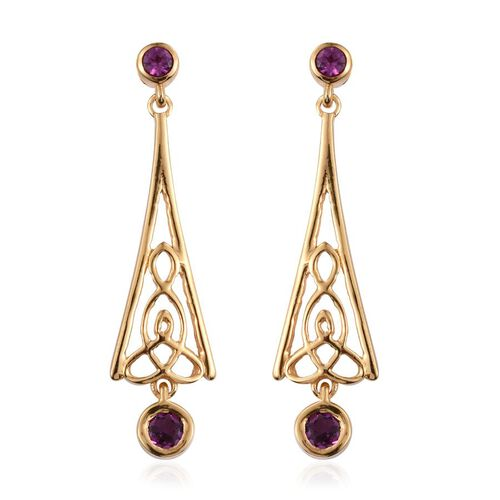 Rare Mozambique Grape Colour Garnet (Rnd) Earrings (with Push Back) in 14K Gold Overlay Sterling Silver 1.000 Ct.