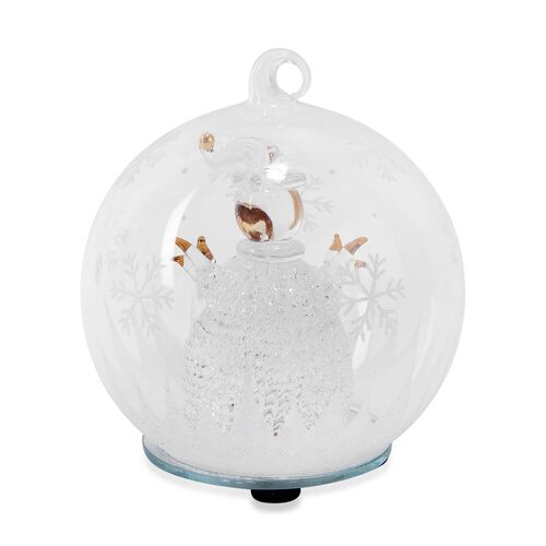 Home Decor - Christmas Snowman Theme Glass Ball with Colourful LED Lights Inside