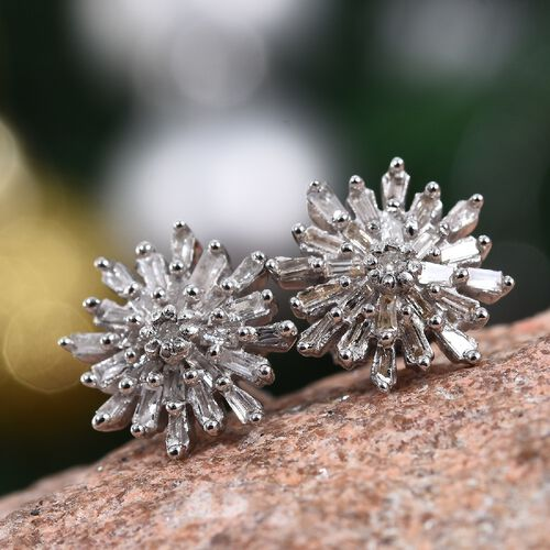 Diamond (Rnd) Starburst Earrigns (with Push Back) in Platinum Overlay Sterling Silver 0.331 Ct.