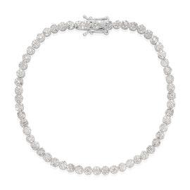 Diamond (Rnd) Bracelet (Size 7.5) in Platinum Overlay Sterling Silver 2.000 Ct.
