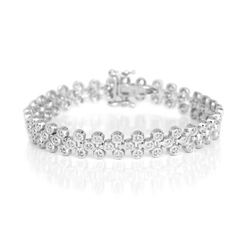 Diamond (Rnd) Bracelet (Size 7.25) in Platinum Overlay Sterling Silver 0.500 Ct.