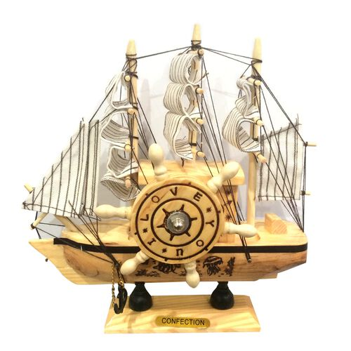 Home Decor - Beige and White Colour Wooden Sailing Ship Design Music Box (Size 19X18X4.5 Cm) with Spinning Helm
