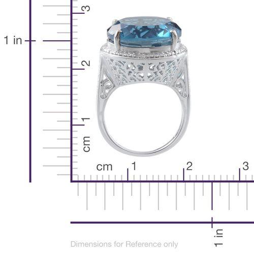 River Quartz (Rnd 18.00 Ct), Diamond Ring in Platinum Overlay Sterling Silver 18.010 Ct.