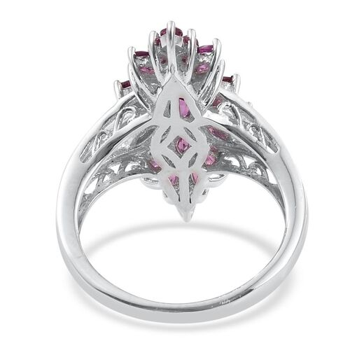 Rare Mozambique Grape Colour Garnet (Ovl) Cluster Ring in Platinum Overlay Sterling Silver 2.250 Ct.