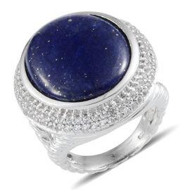 Lapis Lazuli (Ovl 26.00 Ct), White Topaz Ring in Platinum Overlay Sterling Silver 28.500 Ct.