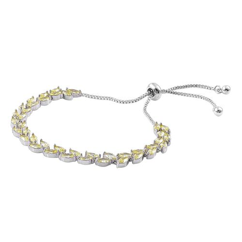 AAA Simulated Yellow Sapphire Adjustable Bracelet (Size 6) in Silver Tone