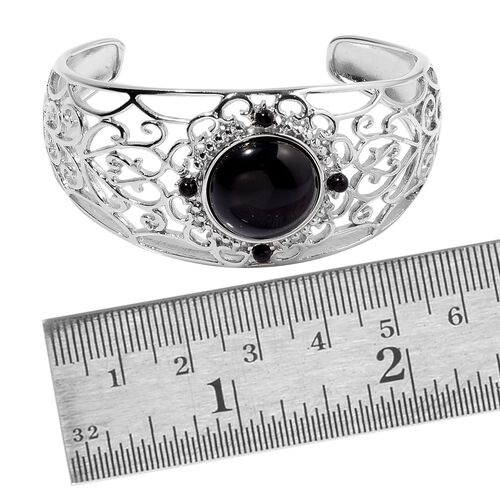 Black Onyx Cuff Bangle (Size 7.5) in Silver Tone 20.000 Ct.