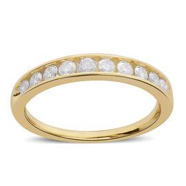9K Y Gold SGL Certified Diamond (Rnd) (I3/G-H) Half Eternity Band Ring 0.500 Ct.