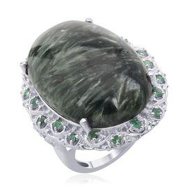 Siberian Seraphinite (Ovl 28.50 Ct) Kagem Zambian Emerald Ring in Platinum Overlay Sterling Silver  28.750 Ct.
