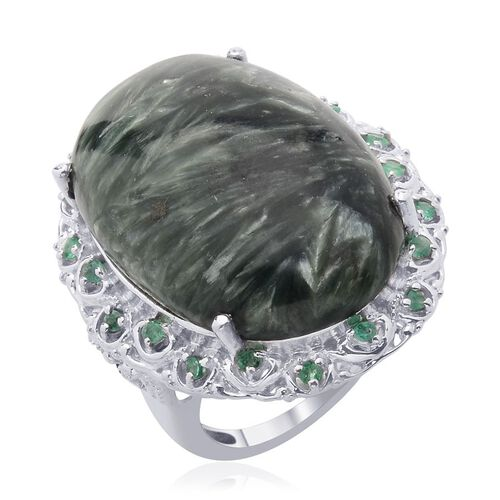 Siberian Seraphinite (Ovl 28.50 Ct) Kagem Zambian Emerald Ring in Platinum Overlay Sterling Silver  28.750 Ct.