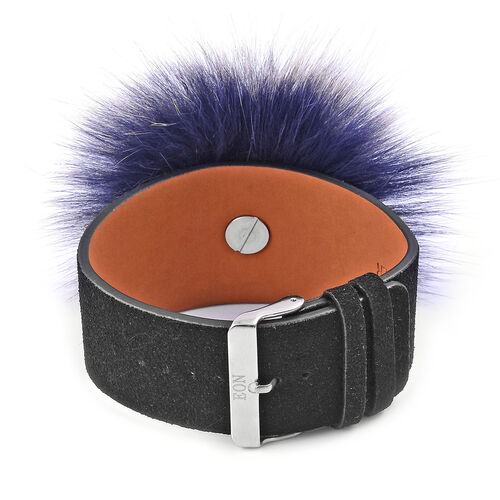 EON 1962 Japanese Movement Sandalwood Watch with Blue Fur and Black Colour Leather Strap