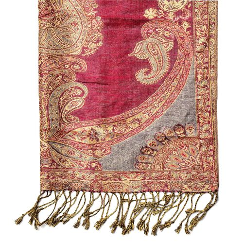 Paisley and Floral Pattern Red, Grey and Multi Colour Scarf with Fringes (Size 180x70 Cm)