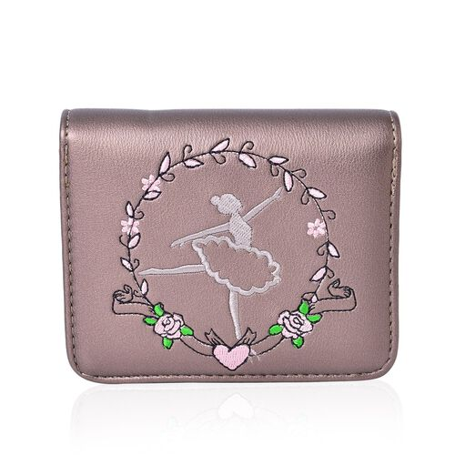 Dancing Ballerina Embroidered Silver Colour Ladies Wallet with Multiple Card Slots (Size 13X9X3 Cm)
