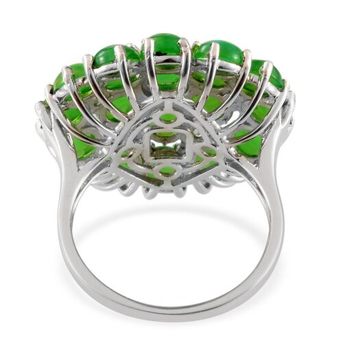 Green Ethiopian Opal (Rnd), Green Sapphire Cluster Ring in Platinum Overlay Sterling Silver 7.000 Ct.