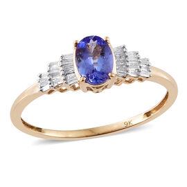 50th Anniversary Special - 9K Yellow Gold AA Tanzanite and Diamond Ballerina Ring 1.00 Ct.