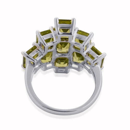 Hebei Peridot (Oct) Ring in Platinum Overlay Sterling Silver 10.500 Ct.