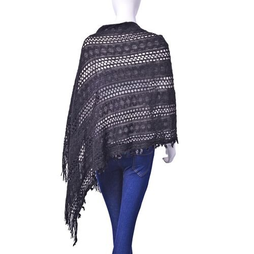 Designer Inspired Black Colour Poncho with Tassels (Free Size)