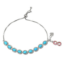 Arizona Sleeping Beauty Turquoise (Ovl), African Ruby Adjustable Bracelet (Size 6.5 to 8.5) with Infinity and Heart Charm in Platinum Overlay Sterling Silver 7.750 Ct.