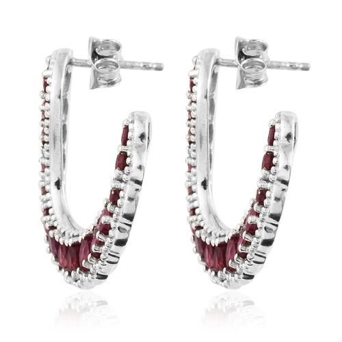 African Ruby (Pear) Earrings (with Push Back) in Platinum Overlay Sterling Silver 6.500 Ct. Silver wt 6.60 Gms.