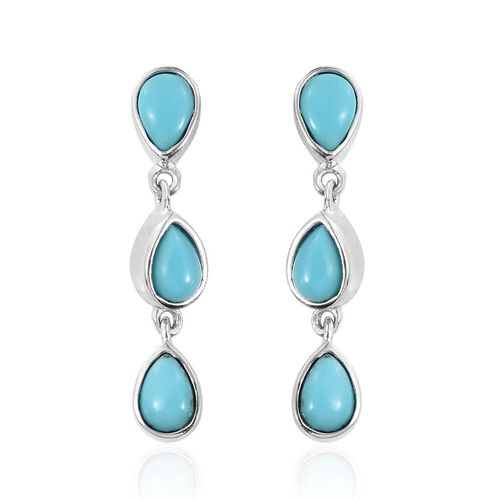 Sonoran Turquoise (Pear) Earrings (with Push Back) in Platinum Overlay Sterling Silver 2.400 Ct.