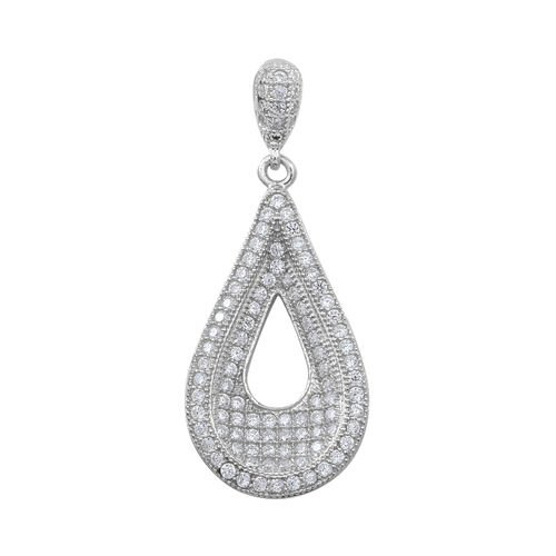 ELANZA AAA Simulated Diamond (Rnd) Teardrop Pendant in Rhodium Plated Sterling Silver