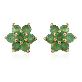 AA Kagem Zambian Emerald (Rnd) Floral Stud Earrings (with Push Back) in 14K Gold Overlay Sterling Silver 0.750 Ct.