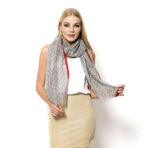 Designer Inspired 100% Wool Grey and Red Colour Hand Block Printed Scarf (Size 195x75 Cm)