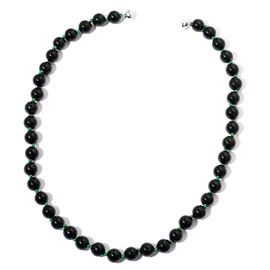 Green Sandstone Beads Necklace (Size 24) with Magnetic Clasp in Rhodium Plated Sterling Silver 514.500 Ct.
