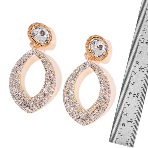 Simulated White Diamond and White Austrian Crystal Clip On Earrings