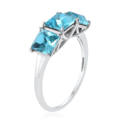 J Francis Crystal from Swarovski - Light Turquoise Colour Crystal (Sqr) Trilogy Ring in Platinum Overlay Sterling Silver