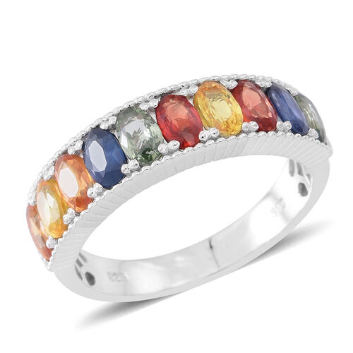 Rainbow Sapphire (Ovl) Half Eternity Band Ring in Rhodium Plated Sterling Silver 3.000 Ct.