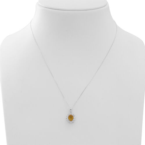 Yellow Sapphire (Ovl 1.75 Ct), Natural Cambodian White Zircon Pendant With Chain in Rhodium Plated Sterling Silver 2.500 Ct.