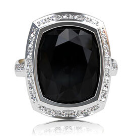 Boi Ploi Black Spinel (Cush 21.00 Ct), White Topaz Ring in Rhodium Plated Sterling Silver 22.500 Ct.