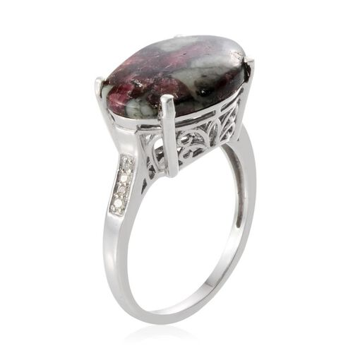 Natural Russian Eudialyte (Ovl 7.25 Ct), Diamond Ring in Platinum Overlay Sterling Silver 7.350 Ct.