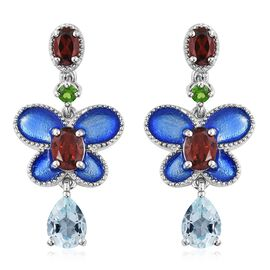 GP Sky Blue Topaz (Pear), Mozambique Garnet, Russian Diopside and Kanchanaburi Blue Sapphire Earrings in Platinum Overlay Sterling Silver 5.750 Ct. Silver wt 7.55 Gms.