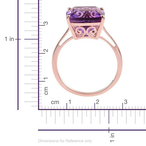 5 Carat Amethyst Silver Solitaire Ring in Rose Gold Overlay