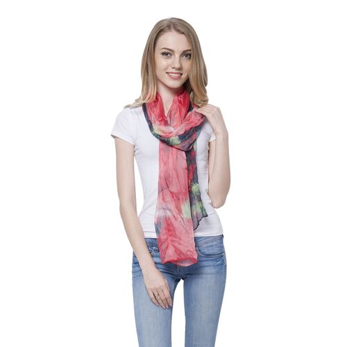 Red, Black and Multi Colour Plume Pattern Scarf (Size 170 x70 Cm)