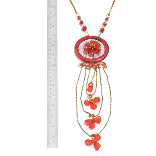 Red and Multi Colour Floral Dream Catcher Necklace (Size 30 with 2 inch Extender) and Matching Key Chain in Gold Tone