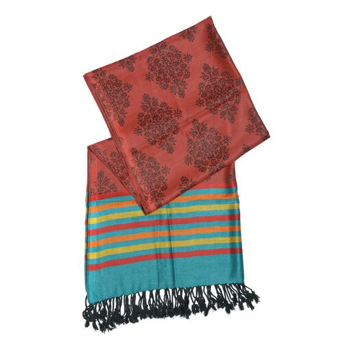Maroon, Black and Multi Colour Scarf with Tassels (Size 180x70 Cm)