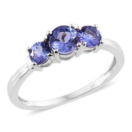 9K White Gold 1.10 Ct AA Tanzanite 3 Stone Ring