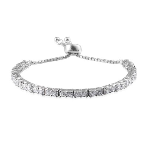 J Francis - Platinum Overlay Sterling Silver (Asscher Cut) Adjustable Bracelet (Size 6 to 9) Made with SWAROVSKI ZIRCONIA
