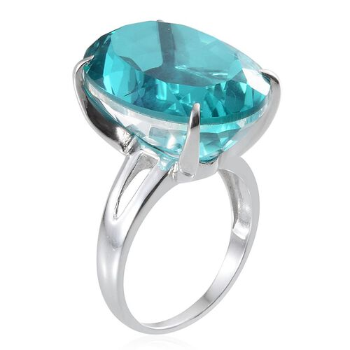 Capri Blue Quartz (Ovl) Solitaire Ring in Platinum Overlay Sterling Silver 31.000 Ct.