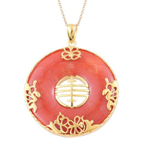 Hand Polished Red Jade Chinese Character FENG (Abundance) Pendant with Chain in Yellow Gold Overlay Sterling Silver 70.100 Ct.