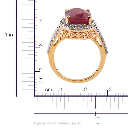 AAA African Ruby (Ovl 9.40 Ct), Natural Cambodian Zircon Ring in 14K Gold Overlay Sterling Silver 10.750 Ct.