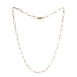 JCK Vegas Collection 14K Gold Overlay Sterling Silver Diamond Cut Oval Link Chain (Size 20), Silver wt 4.60 Gms.
