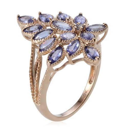 9K Y Gold AA Tanzanite (Mrq) Ring 1.800 Ct.
