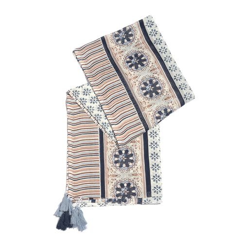 Designer Inspired - 100% Cotton Blue, White and Multi Colour Printed Scarf with Tassels (Size 210x180 Cm)