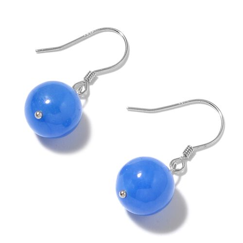 Burmese Blue Jade Ball Necklace (Size 18 with 2 inch Extender) and Earrings in Rhodium Plated Sterling Silver 311.000 Ct.