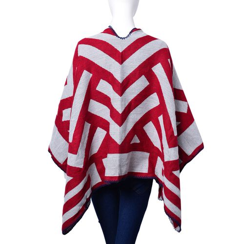 Red and White Colour Stripe Pattern Reversible Poncho (Size 130x60 Cm)